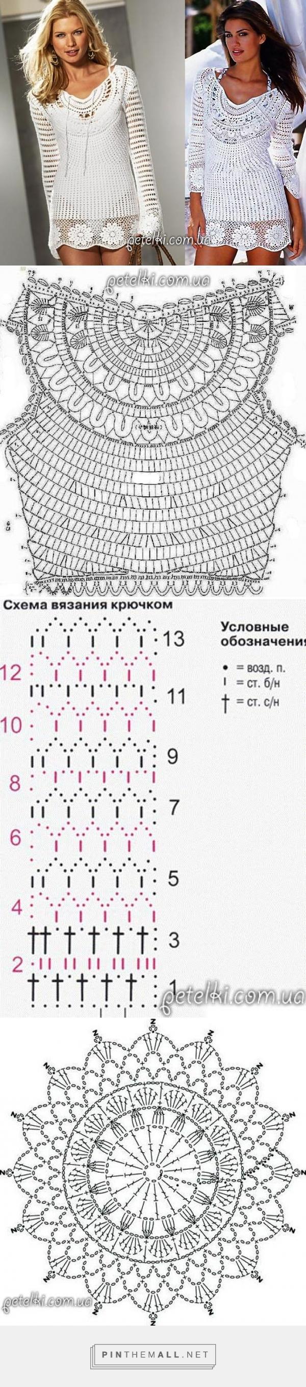 Крупные схемы туник крючком