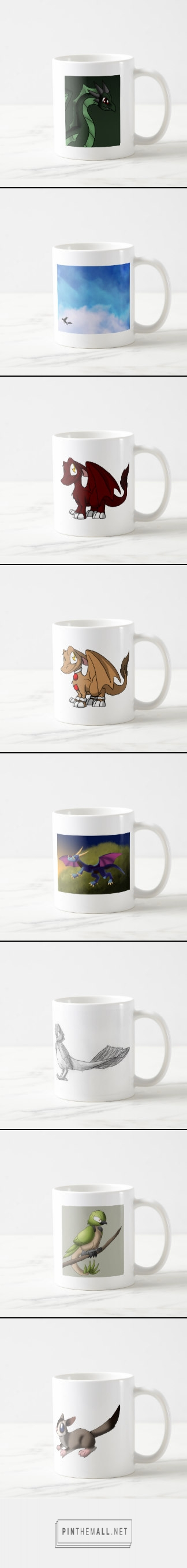 Art of Ganene K. Coffee Mugs  #coffeemugs #dragons #cartoon #anime #sugarglider #sugar #glider #animal #reptile #bird #red #blue #green #lizard #art #... - a grouped images picture